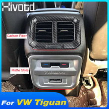 Hivotd For VW Tiguan mk2 2019 Auto Accessory ABS Carbon Armrest Box Rear Seat Air AC Vent Outlet Molding Cover Trim Car Styling lapetus car styling armrest box rear air conditioning ac vent outlet cover trim abs fit for volkswagen vw tiguan mk2 2016 2019