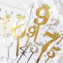 5pcs Gold Silver Acrylic Number 0-9 Diamond Crown Collection Cake Toppers for Birthday Party Dessert Decor Topper Supplies