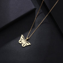 Stainless Steel Gold/ Silver Color Butterfly Pendant Charm Necklace Women Girls Family Best Friends Xmas Party Gift Jewelry Hot(China)