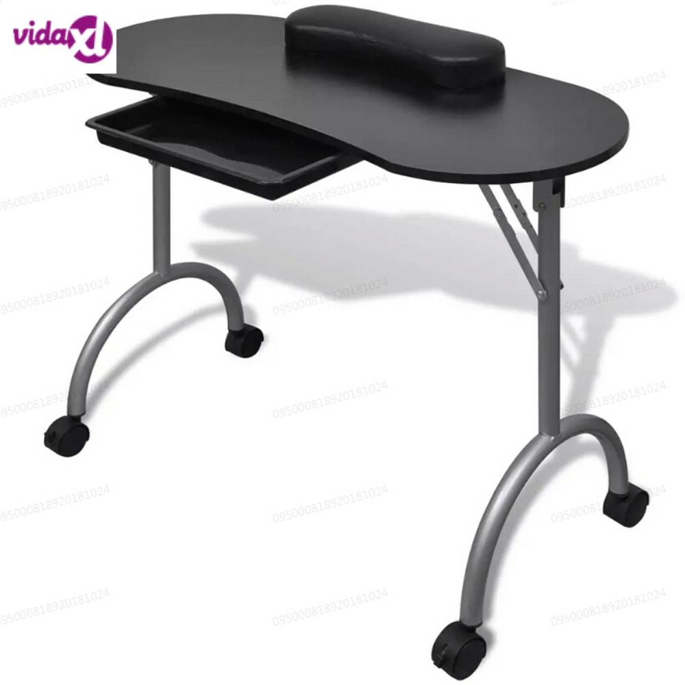 VidaXL Folding Black Manicure Table Portable Nail Table With Castors Manicure Equipment For Nail Salon With Bag Salon V3