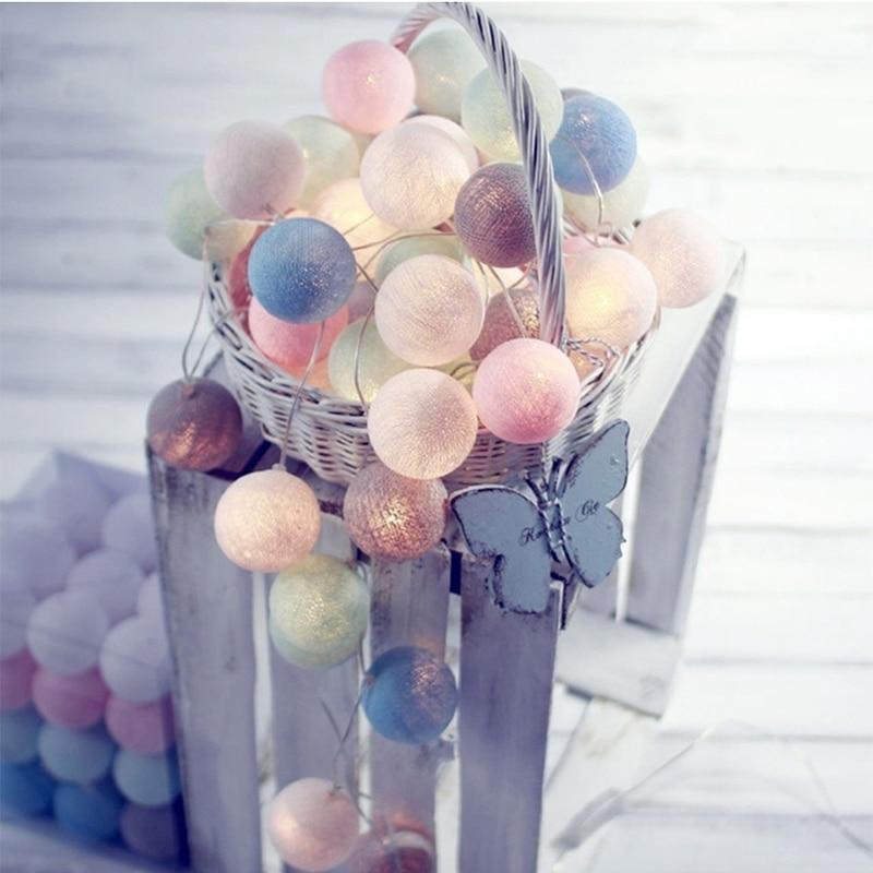 Işıklar ve Aydınlatma'ten Aydınlatma İpleri'de Yeni 20 led pamuk topu dize ışıkları Ac ve pil peri ışıkları açık dekorasyon tatil Garland noel küre aydınlatma chai title=