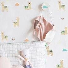 Alpaka desen DIY duvar sticker çocuk odaları için kız odası bebek odası dekoratif duvar çıkartmaları vinil su geçirmez ayrılabilir