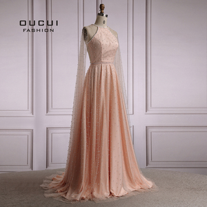 Image 4 - Oucui Luxury Illusion Pink Pearls Open Back Evening Party Dresses Long 2020 Halter Tulle A line Prom Gown with Cape OL103546