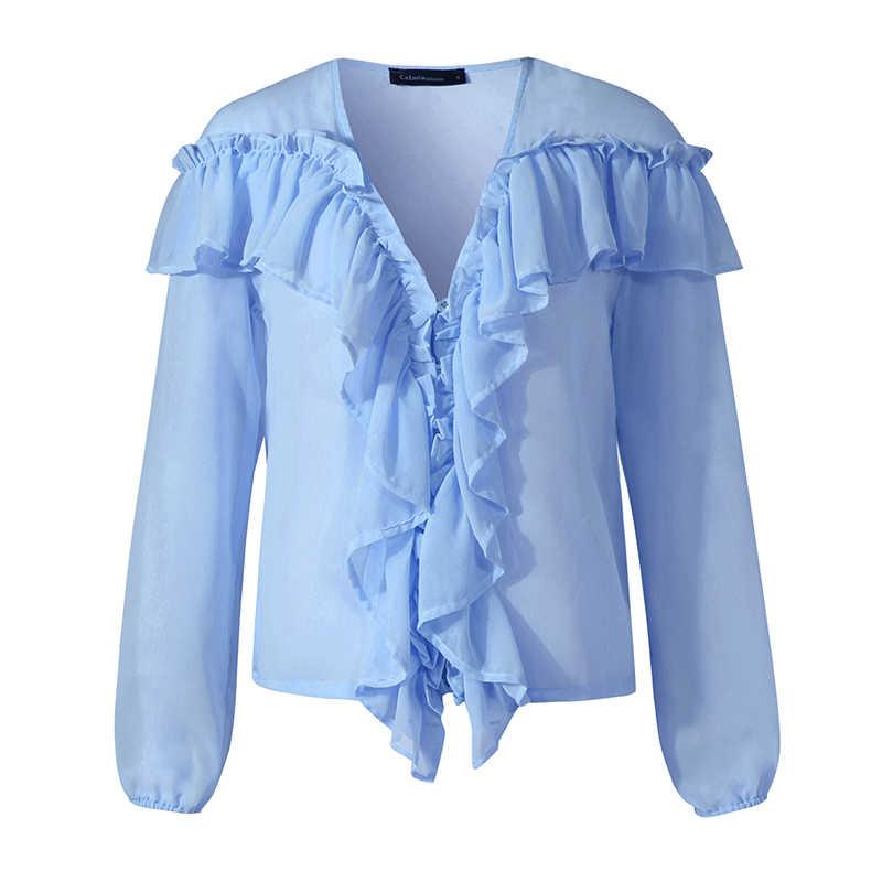 S-5XL celmia 女性ファッションブラウス 2020 夏長袖フリルトップスセクシーなディープ v ネックエレガントなオフィスの女性のパーティー blusas 服