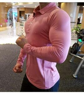 Image 2 - T shirt de Secagem rápida Execução Homens Da Camisa do Esporte Fisiculturismo Compressão Manga Longa Top Ginásio de Fitness Apertado Compresson Polo Jetseys