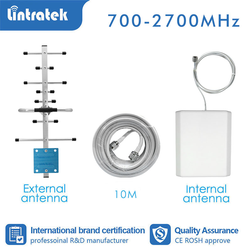 Lintratek GSM 900mhz 1800 2100 2600 700 800 Booster Accessories Signal Amplifier 2G 3G 4G Yagi Antenna + Panel +13m Cable S4