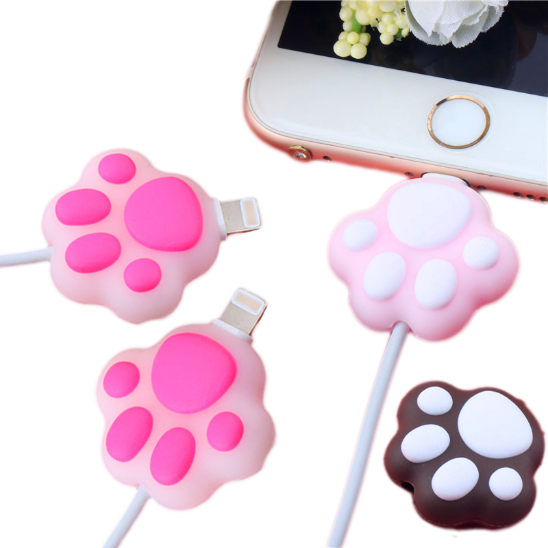 2PCS Cartoon Cat Paws Cable bite protector Cute organizer winder Cable Holder for iphoneXS 8Plus cable Mobile phone accessories