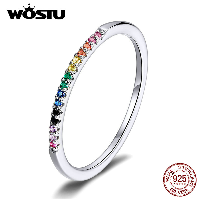 WOSTU Hot Sale Authentic 925 Sterling Silver Colorful Zircon Ring For Women Gift Mean Coloful Life And Show Nice Future FIR583
