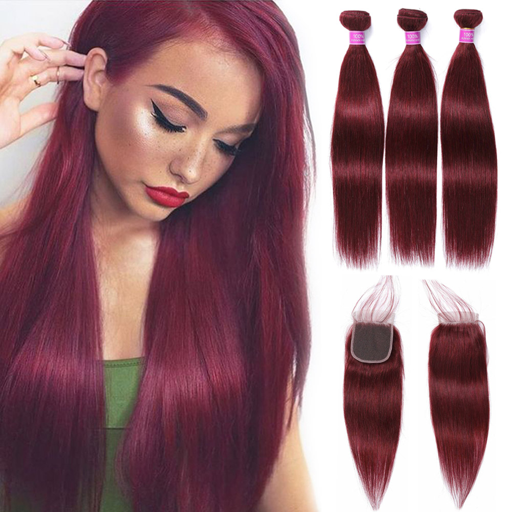 Brazilian Straight Hair Bundles With Closure 99j Burgundy Red Bundles With Closure 100 M Remy Human Hair Extension Fast Shipping