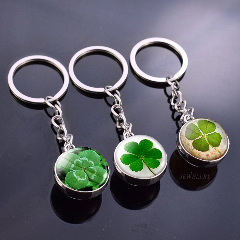 Shamrock Lucky Clover Crystal Ball Keychain Four Leaf Clover Pendant Glass Cabochon Jewelry Sphere Keyrings St. Patrick Day Gift