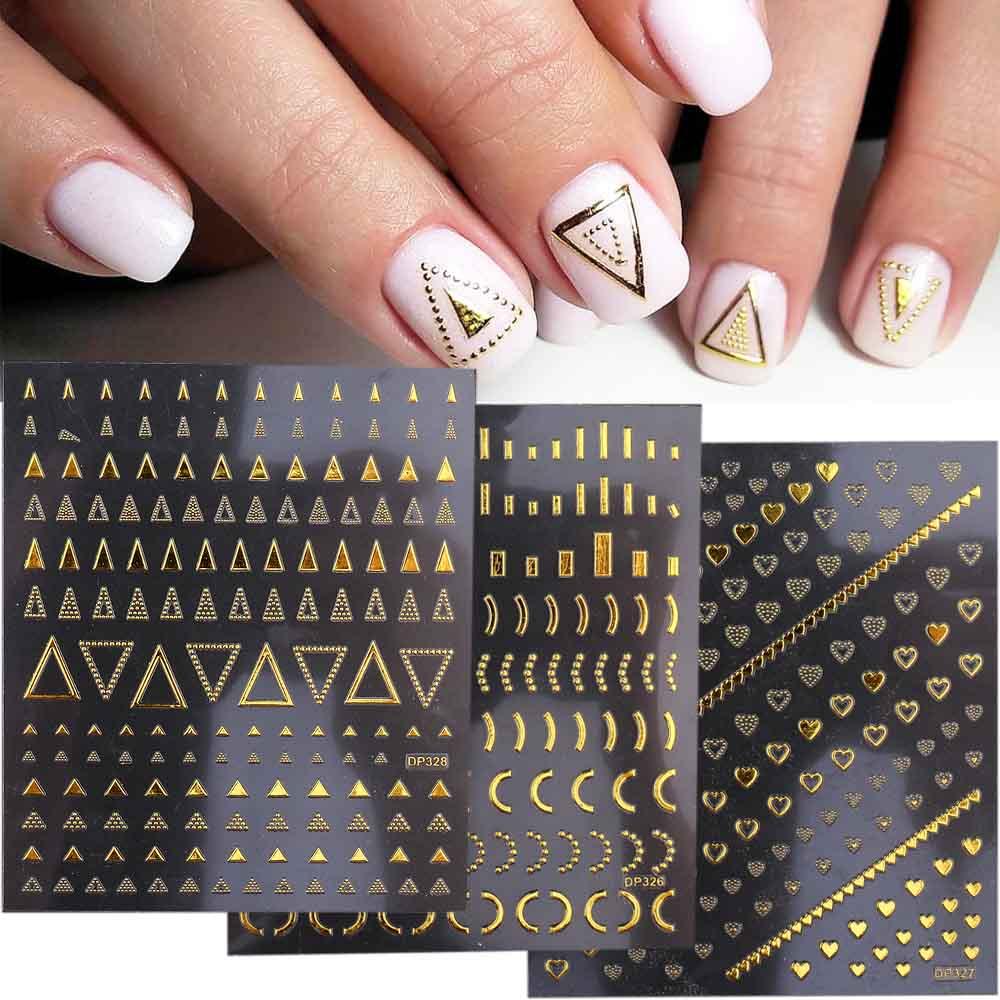 3D геометрические наклейки для ногтей Золотой наклейки на ногти с узорами Треугольники буквы бабочки самоклеющиеся Слайдеры для ногтей Нов...