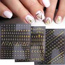 3D Geometric Nail Stickers Gold Triangle Letters Butterfly Self Adhesive Sliders For Nails New Year Nail Art Design  GLDP301-328