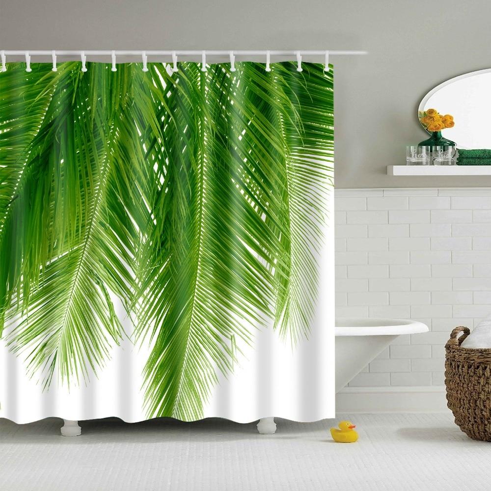 >Tropical Rainforest Plant Palm Leaf Monstera Cactus Shower Curtain Bathroom Curtain Frabic <font><b>Waterproof</b></font> <font><b>Mildewproof</b></font> Polyester