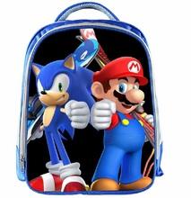 13 Cal Mario plecak dzieci Cartoon Sonic plecaki chłopcy dziewczęta tornister dla przedszkola codzienny plecak dla dzieci BookBag tanie tanio ZeAiLi NYLON Tłoczenie Unisex Miękka Poniżej 20 litr Kieszeń na telefon komórkowy Wewnętrzna kieszeń Miękki uchwyt