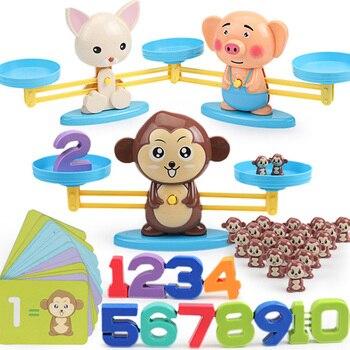 Игра для матча по математике, настольные игрушки, обезьяна, кошка, матч, балансировка, шкала, баланс, игра для детей, обучающая игрушка, чтобы ...