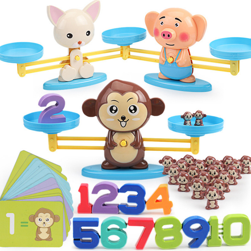 Math Match Game Board Toys Monkey Cat Match Balancing Scale Number Balance Game Kids Educational Toy to Learn add and subtract