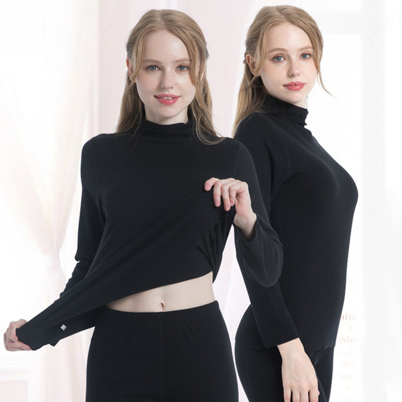 New Solid Womens Thermal Underwear Set Winter Turtleneck Cotton Long Johns Women Thermo Clothing Pajamas Female Temal Body Shape(China)