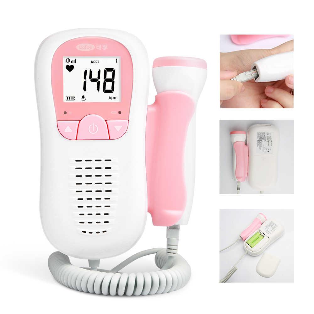 Cofoe Janin Doppler Monitor USG Bayi Suara Detak Jantung Detector Hamil Monitor Janin Saku Portabel Kesehatan Monitor Bayi