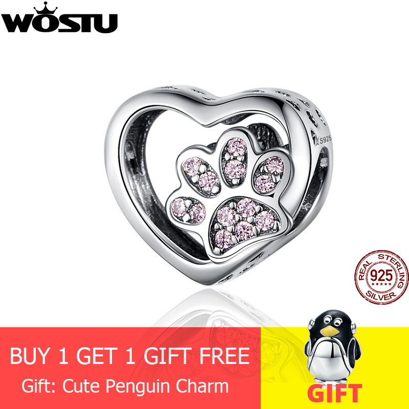 WOSTU Dog-Paw-Beads Bracelet Pendant Charm 925-Jewelry Silver 925-Sterling-Silver Pink
