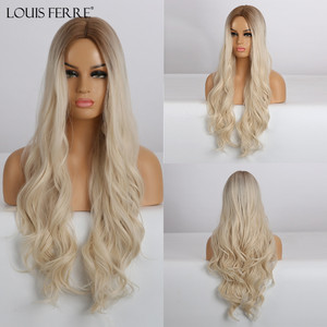 LOUIS FERRE Long Ombre Brown Light Blonde Synthetic Wigs Middle Part Water Wave Cosplay Wig For Black Woman Heat Resistant Fibre