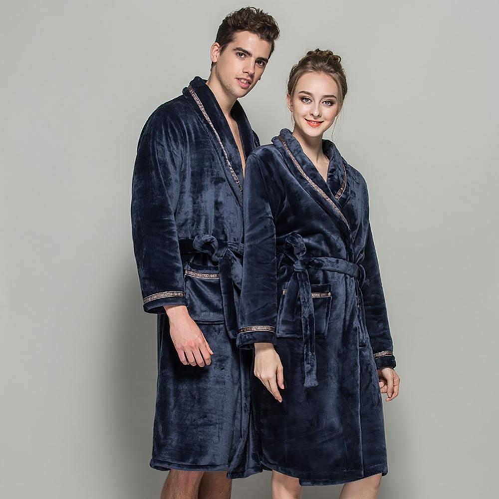 Fashion Winter Flannel Bathrobe Men Women Shawl Bathrobe Lengthen Thicken Home Clothes Long Sleeve Robe Coat Peignoir Homme