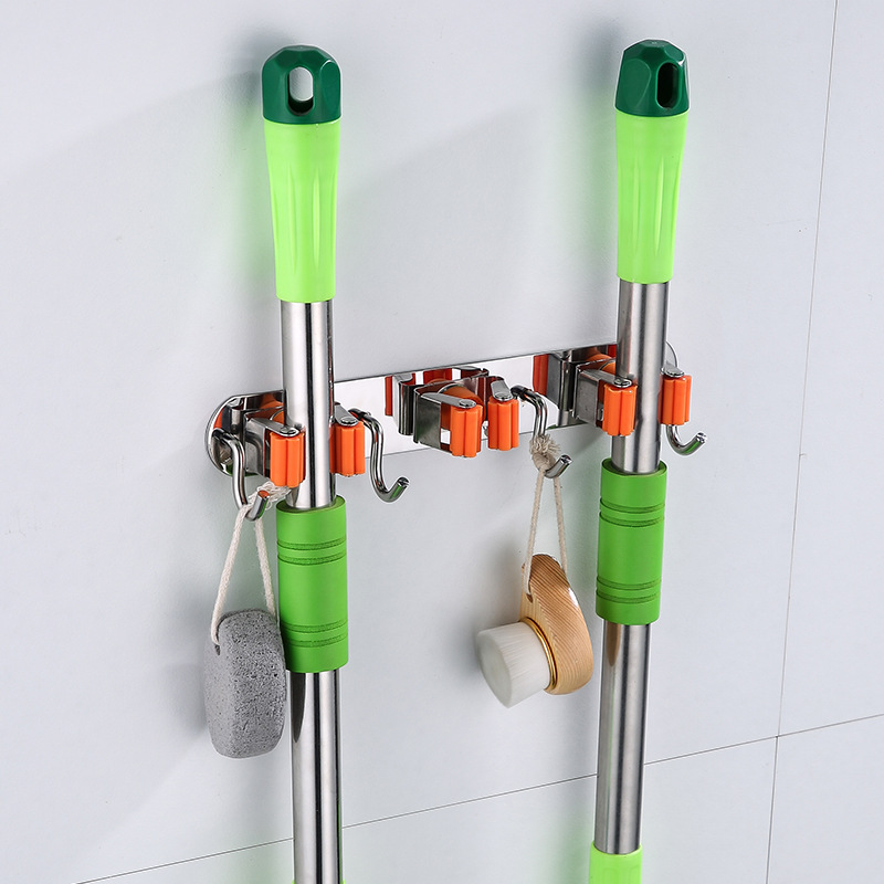 Mop Hook Hole Punched Strong Fixed Buckle Hanging Bathroom Broom Rack Mop Clip Stainless Steel Storage Useful Product