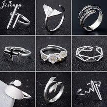 2020 moda proste otwarte pierścienie dla kobiet dziewczyn geometryczne wieloryb ogon liść Bar Heartbeat samolot palec pierścień biżuteria anel hurtownie