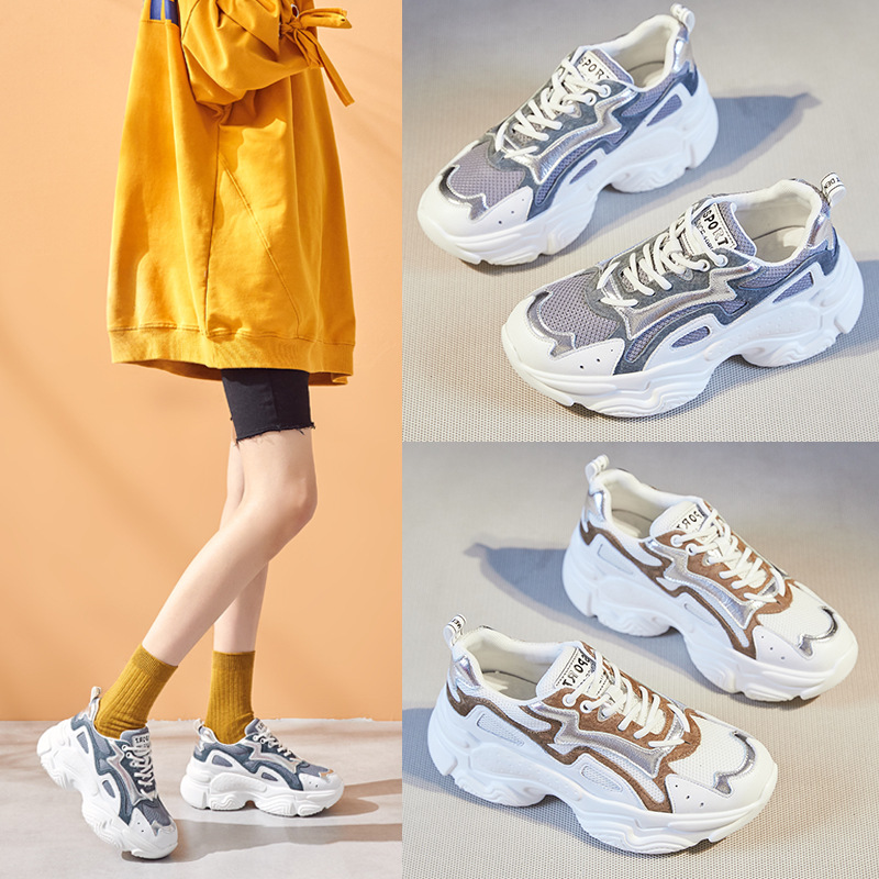2020 Spring Women's Running Shoes Genuine Leather Thick-soled Sports Shoes Women Ins Super-fire Casual Sneakers Women ZZ-326