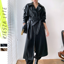 Long Jacket Trench-Coat Faux-Leather Winter Brown Black Autumn Women Sashes PU Outwear
