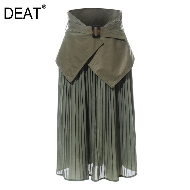 DEAT 2020 New Fashion High Waist Belts Seal Green Pleated Chiffon Patchwork Chiffon Two Pieces Long Skirts Bottoms WJ04906