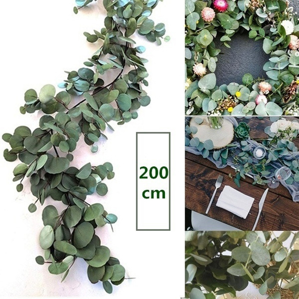 2M Artificial Green Eucalyptus Garland Leaves Vine Fake Vines Rattan Artificial Plants Ivy Wreath Wall Decor Wedding Decoration
