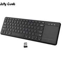 Jöle tarak TouchPad ile 2.4G kablosuz klavye PC faresi dizüstü akıllı TV kutusu ince Mini kablosuz klavye için android iOS