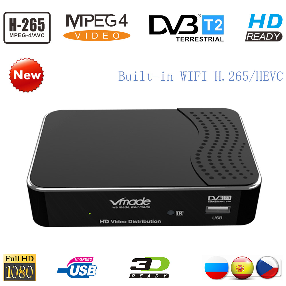 Vmade New Digital Terrestrial Receiver <font><b>DVB</b></font> T2 H.265 / HEVC Built-in <font><b>WIFI</b></font> Support AC3 Audio MPEG4 <font><b>DVB</b></font>-T2 TV Tuner Hot Sale Europe image