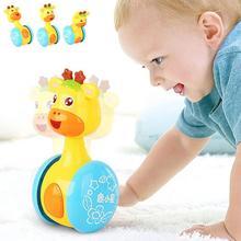Игрушка-неваляшка для новорожденных, милый мультяшный олень, погремушка, кукла, игрушка, колокольчик, музыкальное обучение, детский прорезыватель, погремушка
