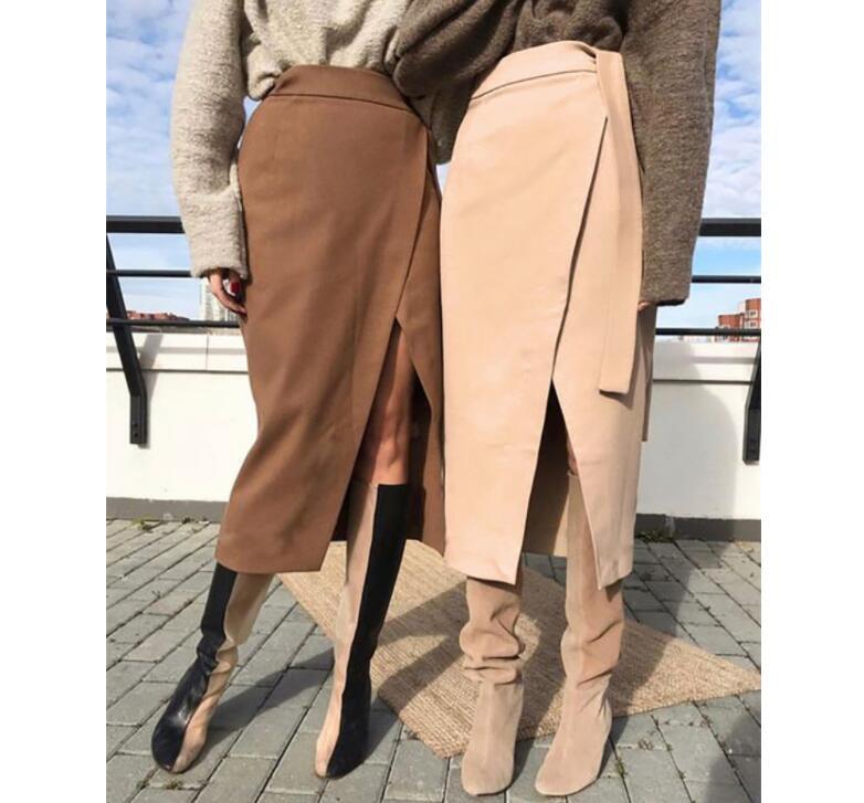 Khaki Suede Long Skirt Women Autumn Winter Casual Wrap Skirt Lace Up Women High Waist Midi Skirt Office Ladies Elegant 2020