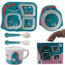 Eco-friendly Bamboo Fiber Child Feeding Plate Set Toddler Tableware Bowl Dishes Cup Cartoon Baby Tray Food Container for Kids