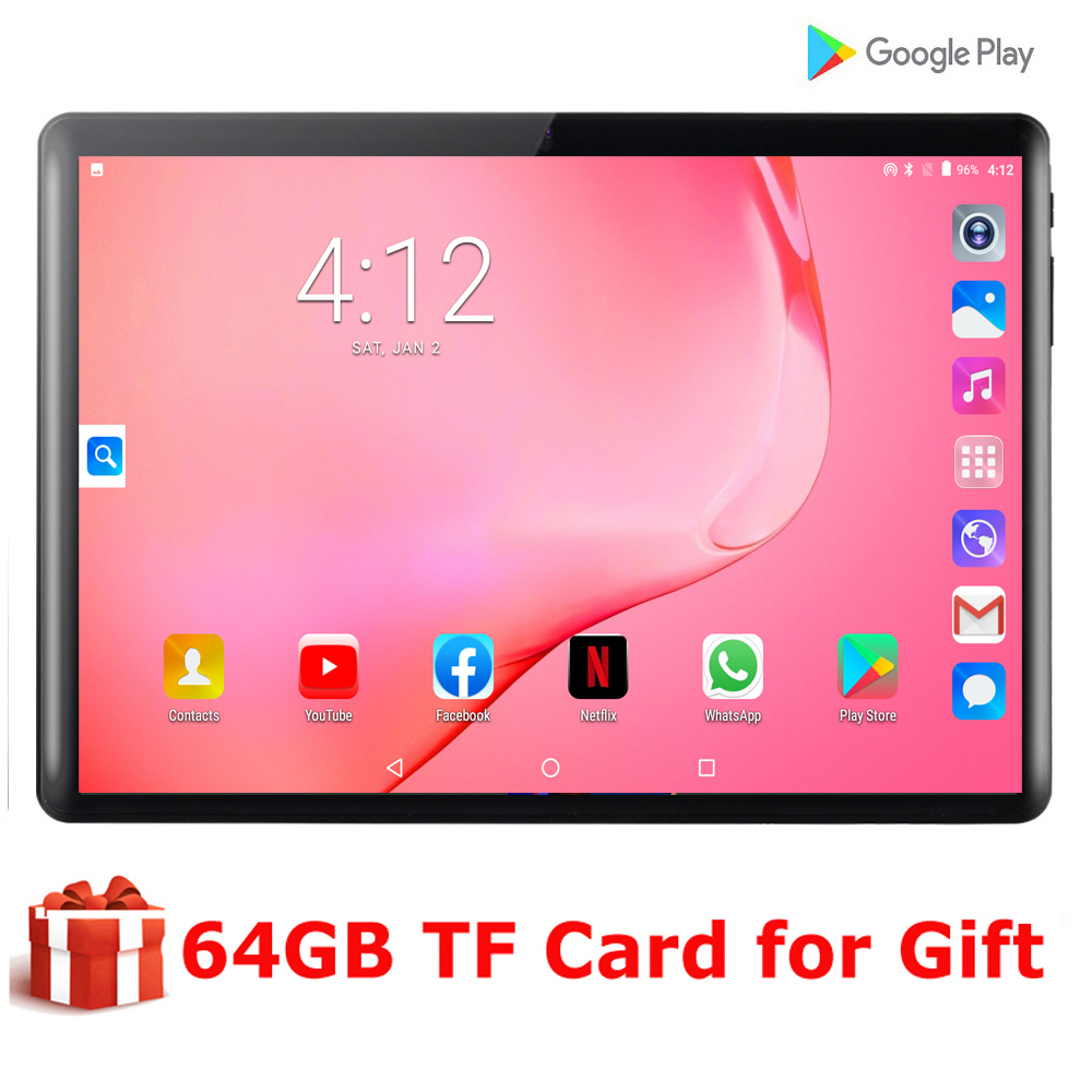 New 10 Inch Tablet PC 3G Android 9.0 Tablets Ram 2GB Rom 32GB WiFi GPS 10.1 Tablet IPS Dual SIM GPS DHL Free +64GB TF CARD Gift