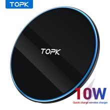 TOPK cargador inalámbrico B02W, 10W, LED, portátil, Universal, rápido, para Samsung S10, S9, S8, Xiaomi Mi9