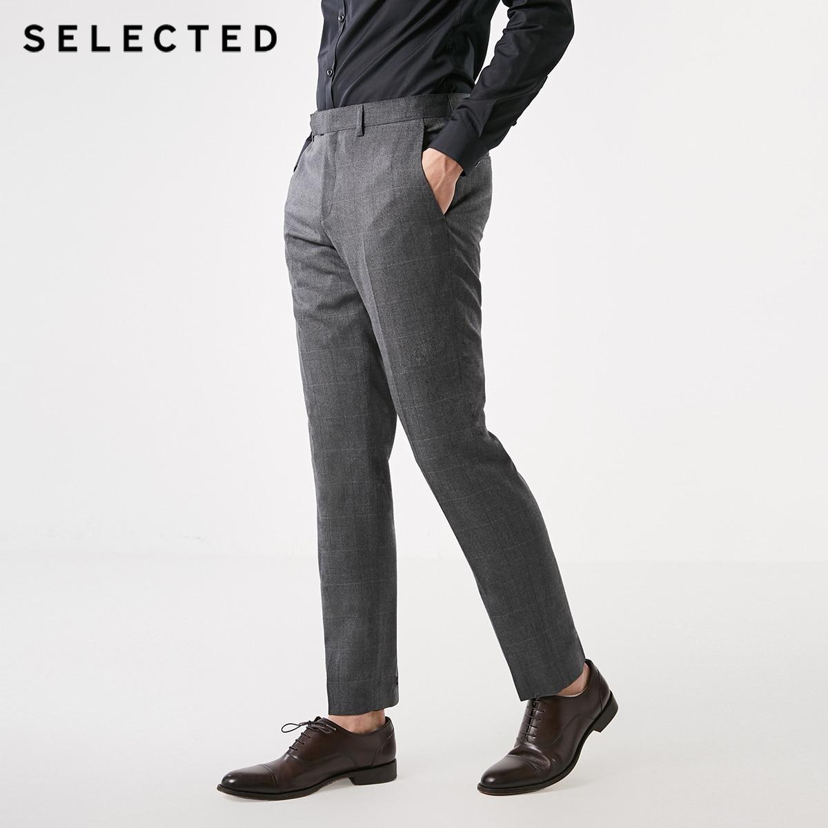 SELECTED Men's 100% Wool Plaid Slim Fit Suit Pants T|41916C504