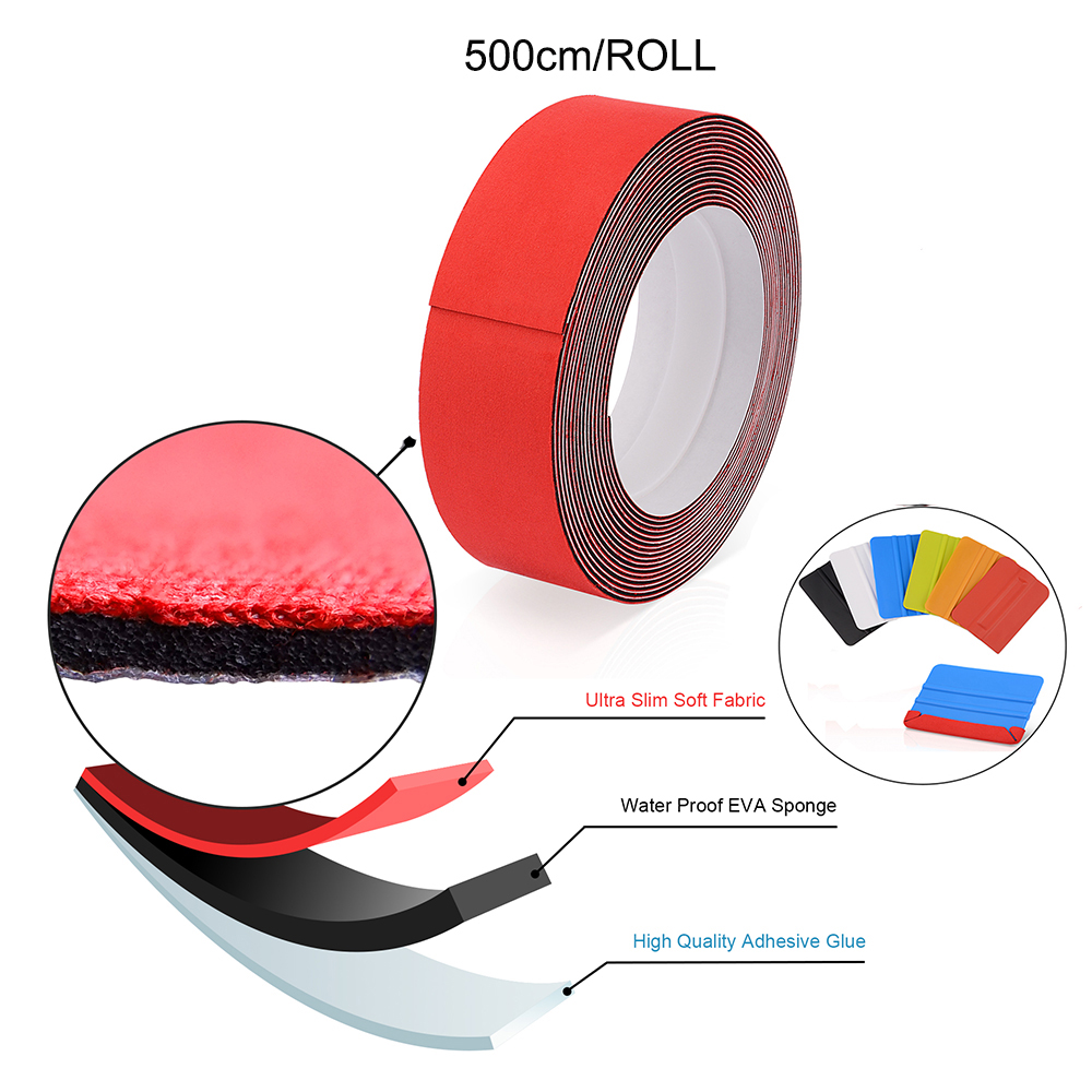 FOSHIO 500cm Waterproof Slim Fabric Cloth For All Vinyl Film Car Wrap Squeegee Carbon Fiber Tool Window Tint Scraper Felt Edge