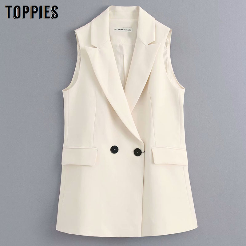 Women Sleeveless Suit Jacket Doule Breasted Office Ladies Slim Long Jacket 2020 Summer Suits