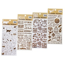 1Pcs/lot Golding Twinkle Daily Decorative Washi Stickers Scrapbooking Stick Label Diary Stationery Bullet Journal stickers