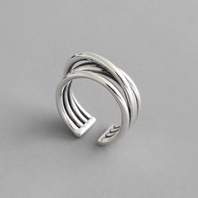 Real 925 Sterling Silver Ring Women 2019 Geometric Vintage Multilayer Line Winding Ring For Women anillos plata 925 para mujer(China)