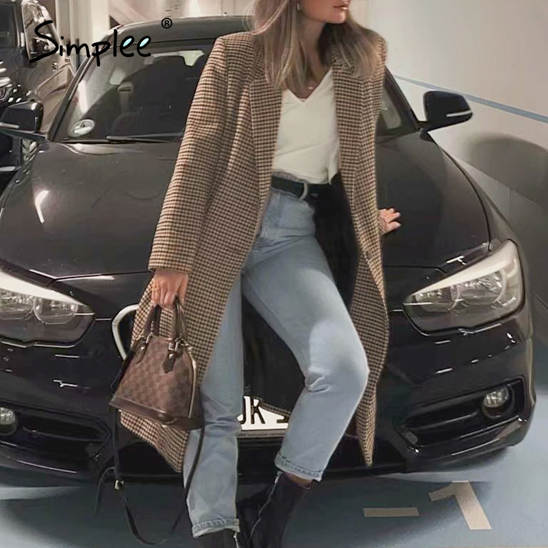 Simplee Vintage houndstooth women tweed coat Buttons pockets female long blend coat Elegant long sleeve office ladies coats 2020