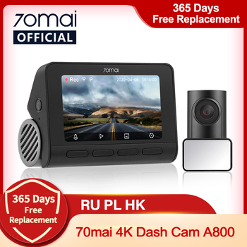 70mai A800 4K Car DVR Dual Vision Cam with Built-in GPS ADAS 70mai 4K Dash Cam A800 UHD 24H Parking Monitior 70mai Camera 140FOV image
