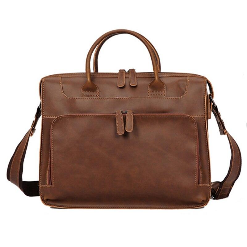 Femmes hommes en cuir sac à bandoulière grande capacité 14 pouces sacoche pour ordinateur portable sacs pour Documents sac de messager Vintage en cuir affaires