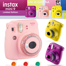 Fujifilm Instax Mini 9 Camera New Clear Yellow Purple Pink Fuji Instant Upgraded Mini 9 Mini 8 Film Photo Camera + Color Filter