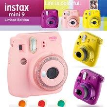 Fujifilm Instax Mini 9 kamera yeni şeffaf sarı mor pembe Fuji anında yükseltilmiş Mini 9 Mini 8 Film fotoğraf kamerası + renk filtresi