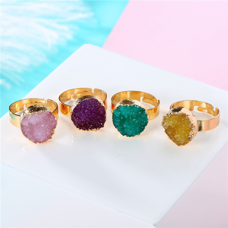 BELLAHYDIARY Round Pink Green Purple Resin Adjustable Ring Women Gifts Wedding Rings For Women Accessories Jewelry Jewellery R32 (6)