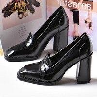 Black Loafers Oil Leather High Block Heels Pumps Square Toe Slip On for Women Spring Ladies Work Elegant Shoes Plus Size 8 9 FSJ